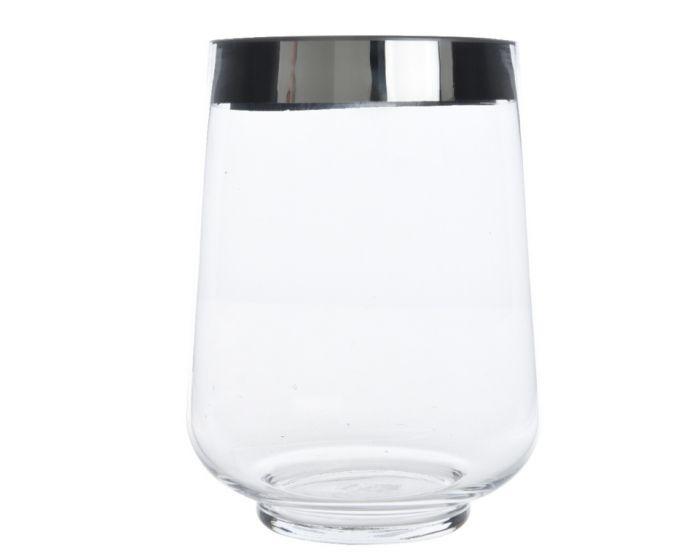 Glass Hurricane With Silver Rim