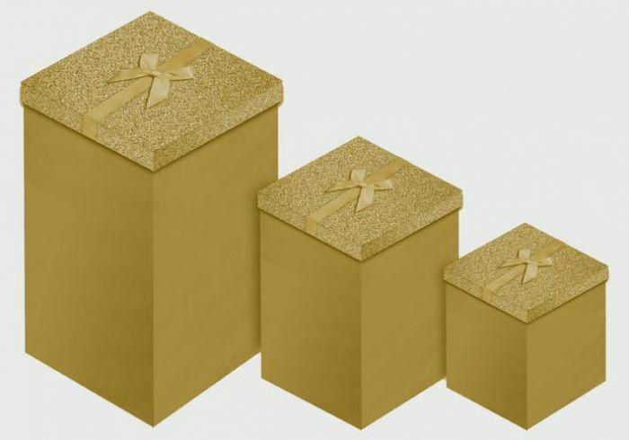 Gold Glitter 3 Candle Box