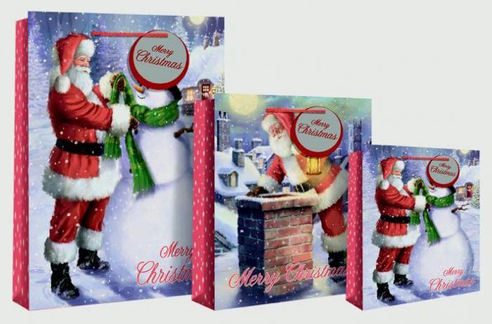 Santa Roof/ Snowman Large Bag
