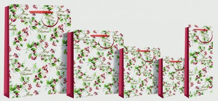 Xmas Holly Text Large Bag