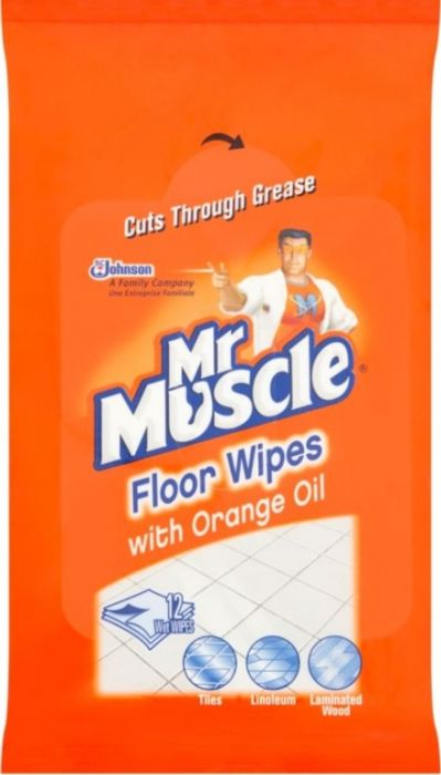Mr Muscle Floor Wipes Pack 12 With Orange Oil