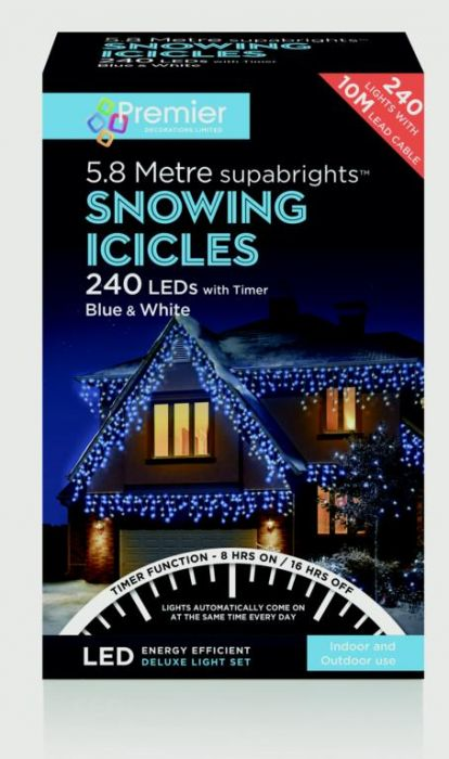 Snowing Icicles With Timer Blue & White