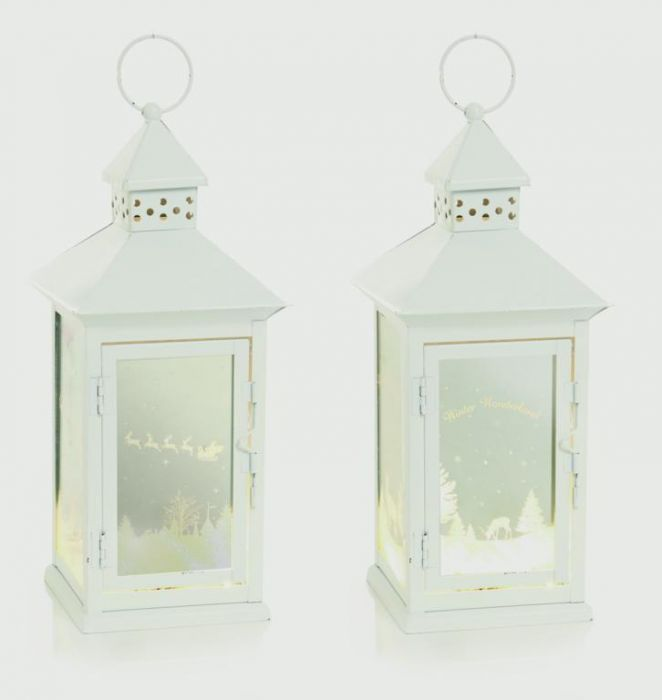 Lit Metal Mirror Lantern 25 Warm White Leds-