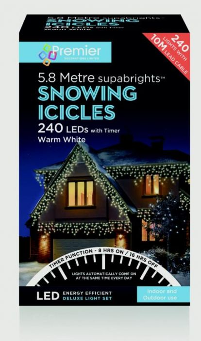 Snowing Icicles With Timer Warm White