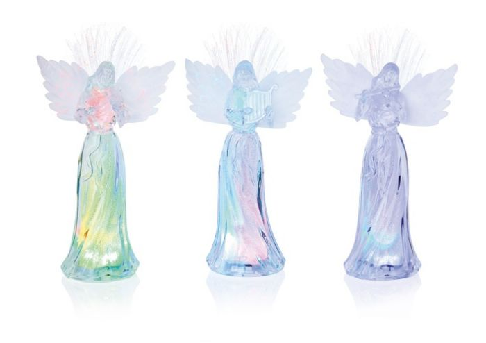 Acrylic Colour Change Angel With Fibre Optic Wings