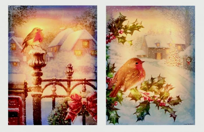 Glowing Canvas Robin On Letter Box & Holly Tree
