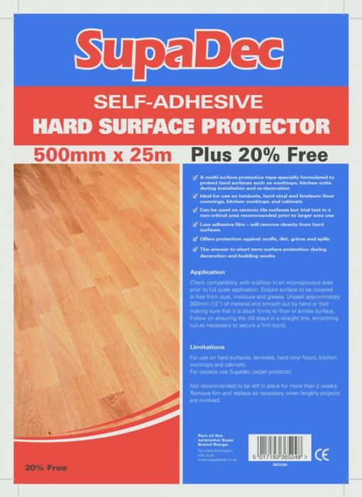 Supadec Hard Floor Protector Film Plus 20% Extra 500X25