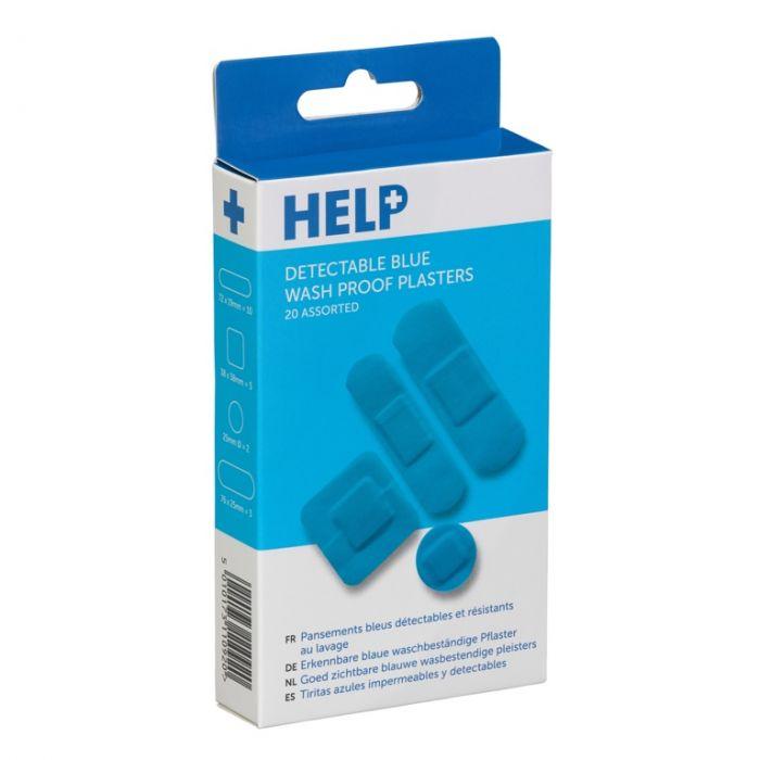 Help Sterile Blue Waterproof Plasters Pack 20