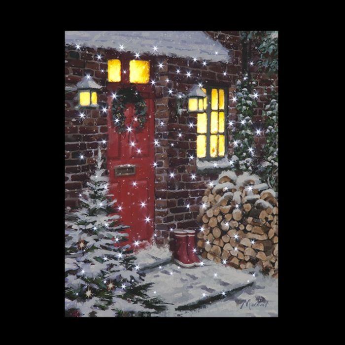 Fibre Optic Led Winter Logs Canvas