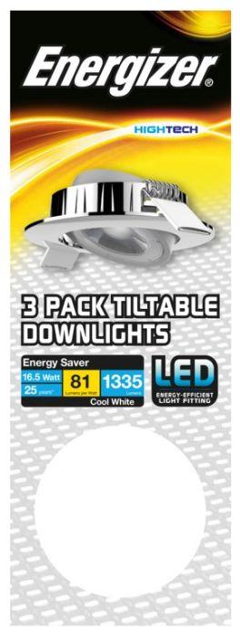 Energizer Tiltable Downlight Kit 16.5W Chrome