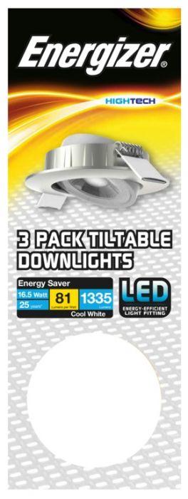 Energizer Tiltable Downlight Kit 16.5W Brushed Chrome