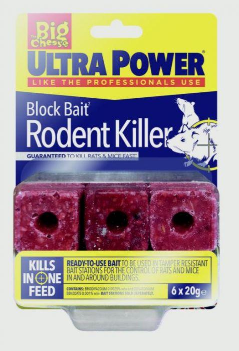 The Big Cheese Ultra Power Block Bait Rat Killer� Station Refills 6 X 20G Blocks