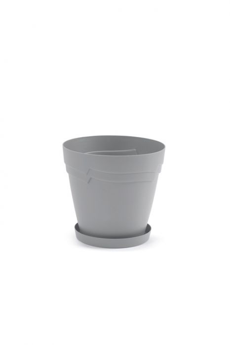 Boston Low Round Self Watering Planter 28Cm Stone