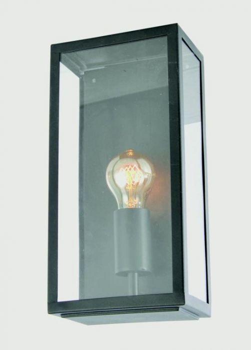 Zink Minerva Box Lantern Black Stainless Steel & Glass
