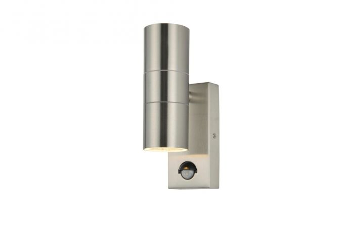 Zink Up Down Outdoor Wall Light With Pir Stainless Steel