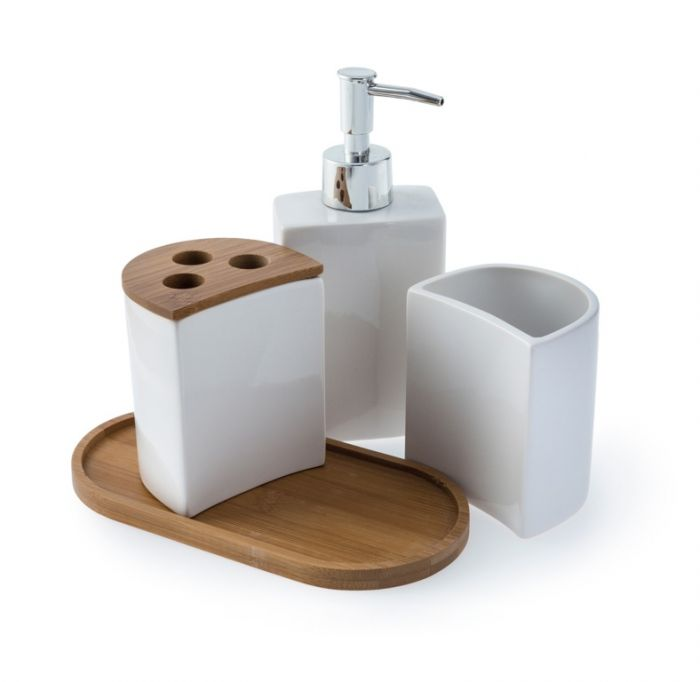 Blue Canyon Aria Bath Accessory Set White 4 Piece