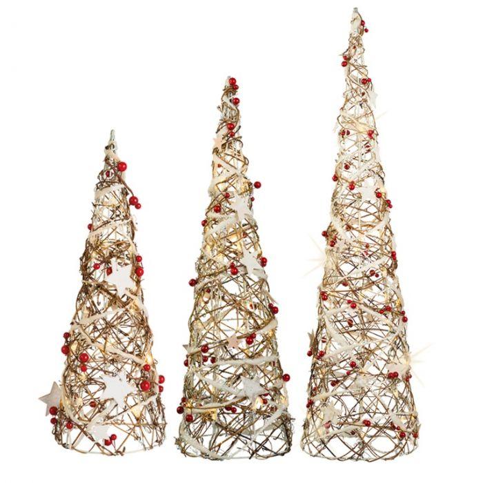 Led Rattan Decorated Cones