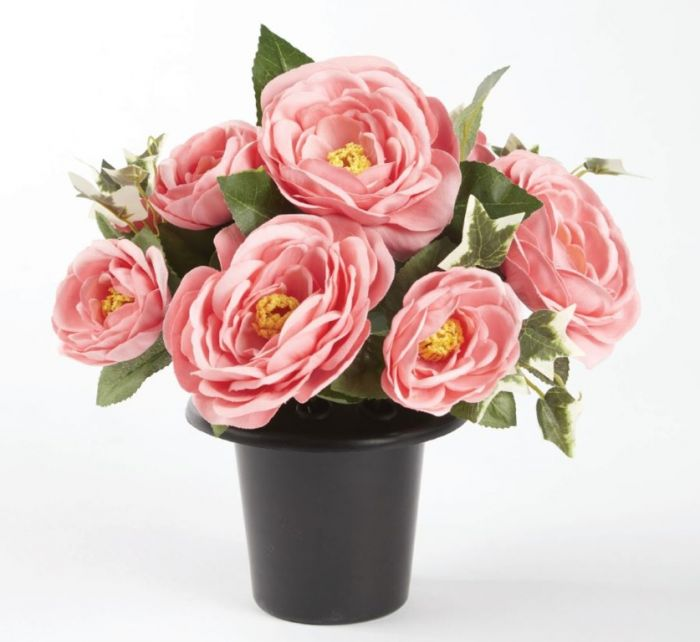 Smithers Oasis Grave Vase Container Black/Pink