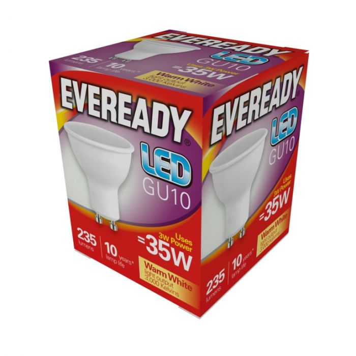 Eveready Led Gu10 3W 235Lm Warm White 3000K
