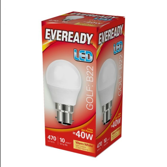 Eveready Led Golf 6W 470Lm Warm White 3000K B22