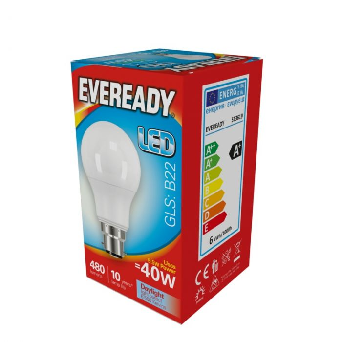 Eveready Led Gls 5.6W 480Lm Daylight 6500K B22
