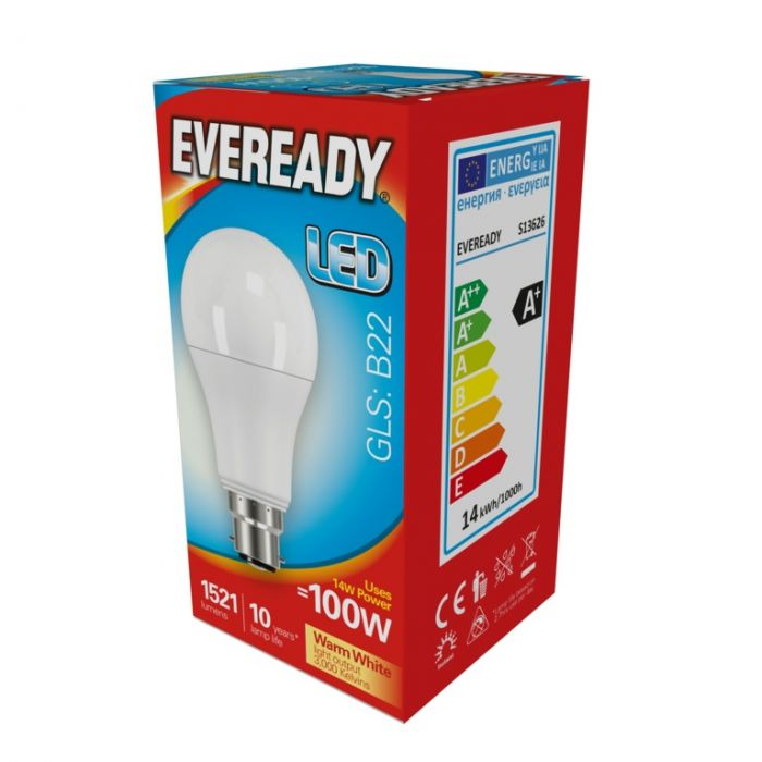 Eveready Led Gls 14W 1521Lm Warm White 3000K B22