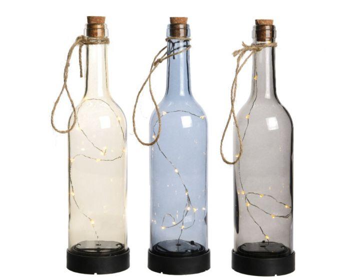 Lumineo Micro Led Solar Bottle Warm White 3 Assorted Designs