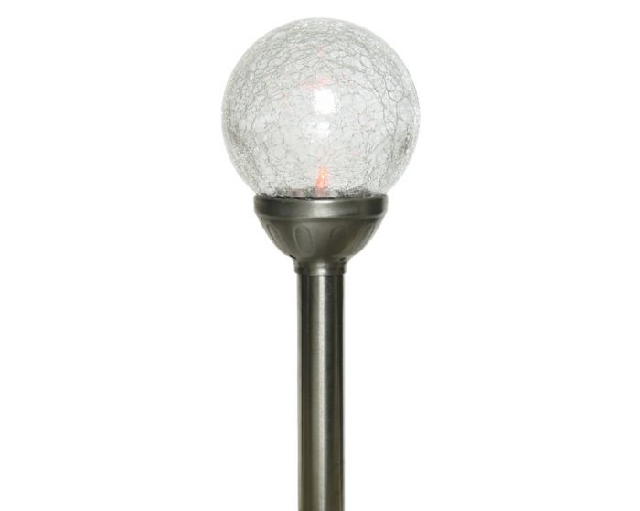 Lumineo Led Solar Crackle Glass Ball - 1 Light 10X30.5Cm - Colour Changing