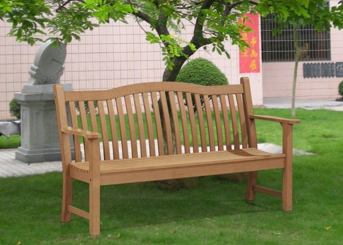 Winawood Netherley Thin Slat Teak Effect Bench 3 Seat