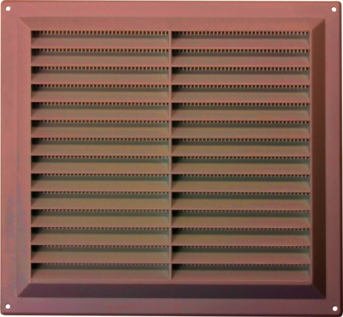 Map Brown Louvred Vent (With Fixed Flyscreen) Opening Size: 9 X 9 - 229 X 229Mm