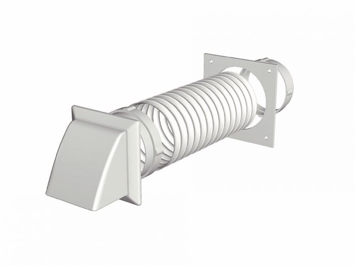 Make Tumble Dryer Extraction Kit - Cowled White 125Mm