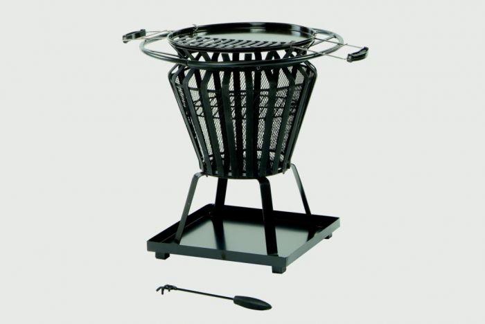 Lifestyle Signa Steel Basket With Fire Pit Bbq Black Steel Basket Frame Work