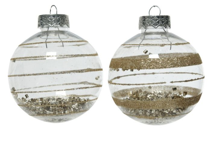 Bauble With Glitter 8Cm