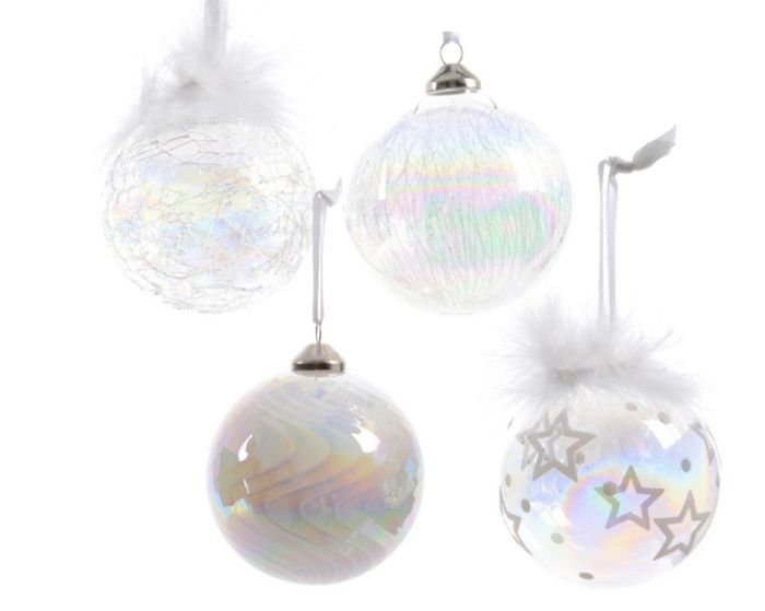Glass Iridescent Clear Bauble