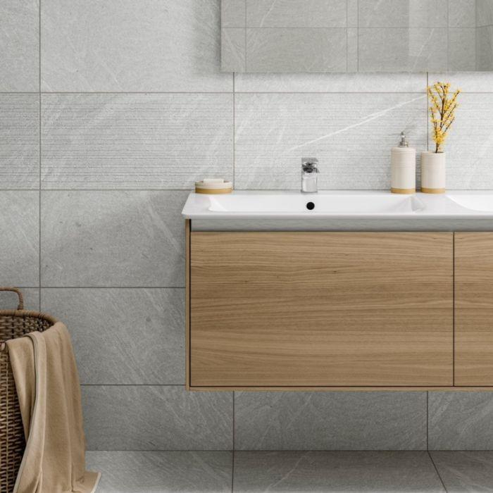 Verona Bexley Gris Linear Porcelain Wall & Floor Tile 300 X 600 1.44M2