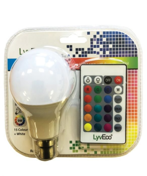 Lyveco Remote Controlled Colour Changing Gls Lamp 9W Bc