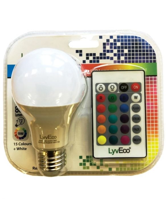 Lyveco Remote Controlled Colour Changing Gls Lamp 9W Es