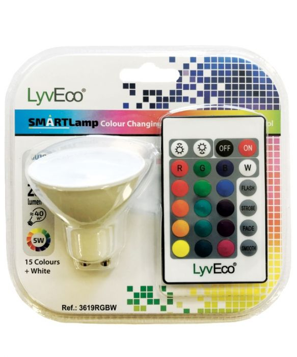 Lyveco Remote Controlled Colour Changing Gu10 Lamp 5W