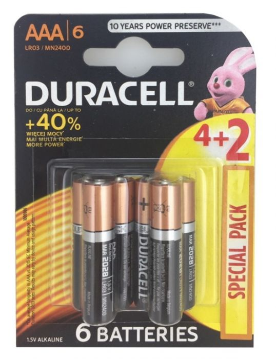 Duracell 4 Plus 2 Pack Batteries Aaa