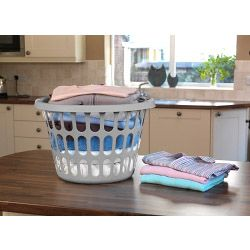 Tml Round Laundry Basket Silver
