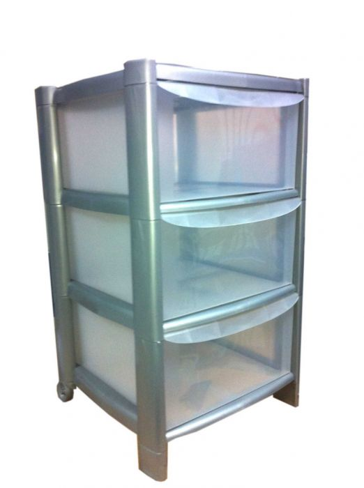 Tml 3 Tier Drawer Trolley With Feet & Wheels Silver Frame/Clear Drawers