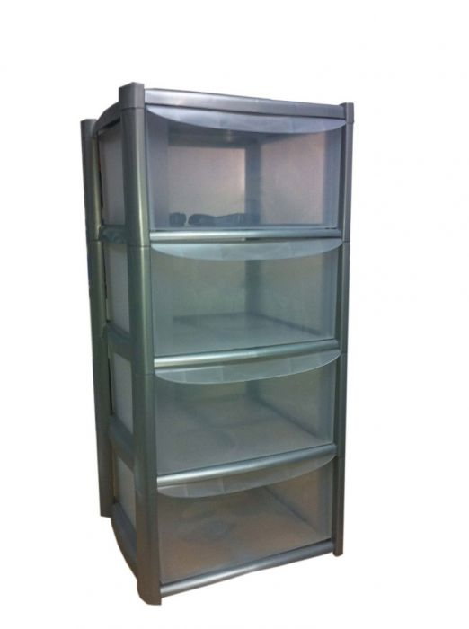 Tml 4 Drawer Tower With Wheels Silver