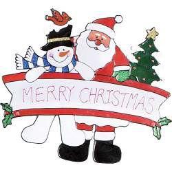 Santa With Snowman Window Sticker