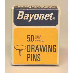 Bayonet 50 Drawing Pins Solid Head Brassed 10Mm