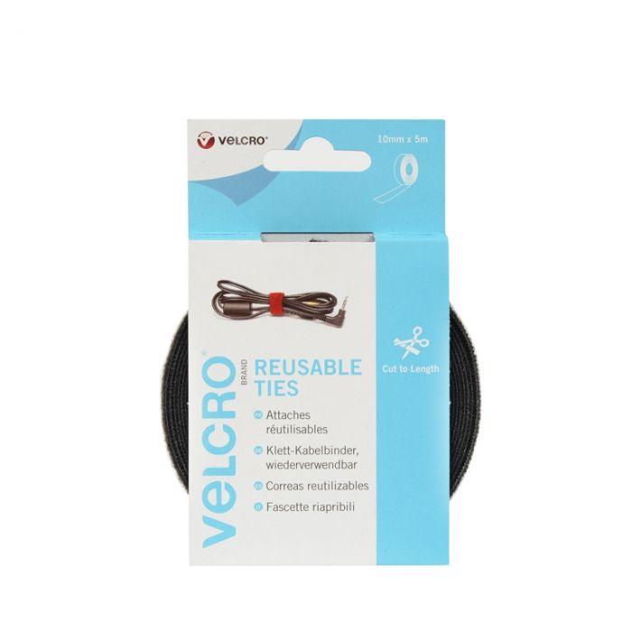 Velcro� Brand Reuseable Ties- Cut To Length 10Mm X 5M Black