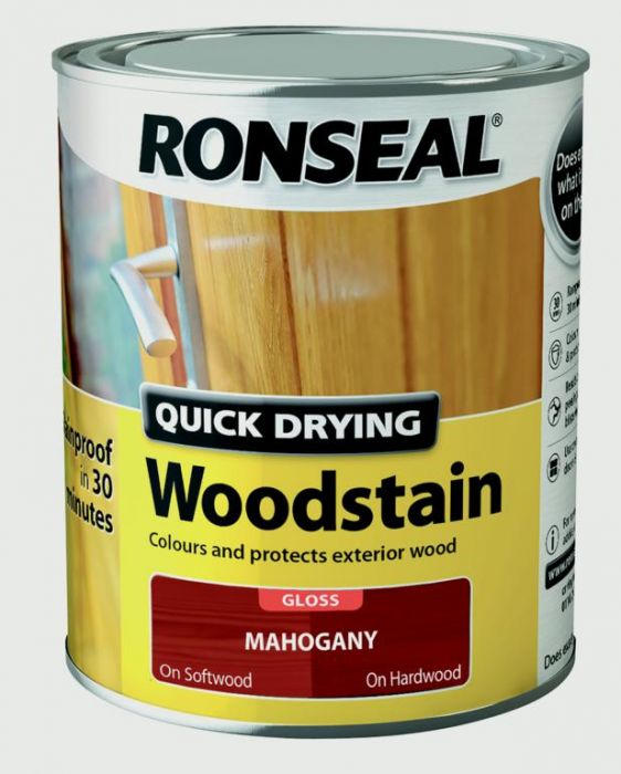 Ronseal Quick Drying Woodstain Gloss 750Ml Mahogany