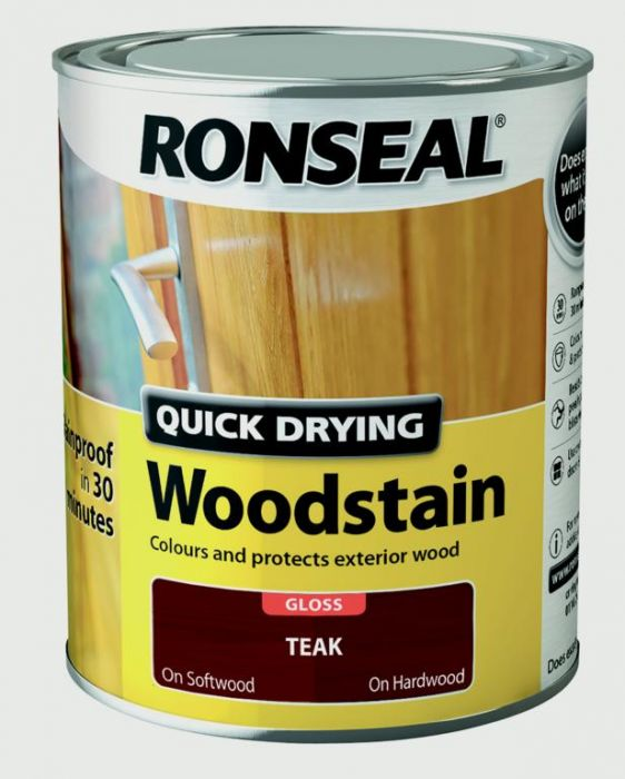Ronseal Quick Drying Woodstain Gloss 750Ml Teak