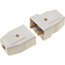 Dencon 5A 2 Pin Nylon Connector White Bubble Packed