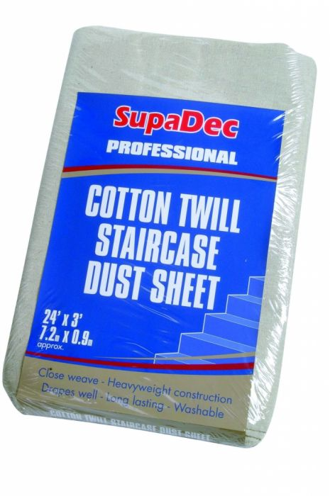 Supadec Cotton Twill Staircase Dust Sheet 24' X 3' (7.3M X 0.9M) Approx