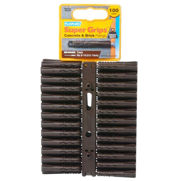 Plasplugs Brown Supergrip Fixings 100 Pack